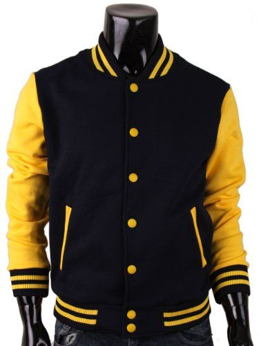 Bcpolo Men's Baseball Jacket Letterman Jacket Varsity Jacket Black ...