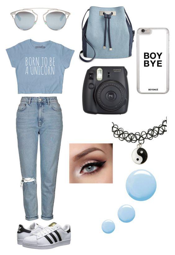 """Sem título #41"" by xannagomes on Polyvore featuring moda, Topshop, adidas Originals, INC International Concepts e Christian Dior"