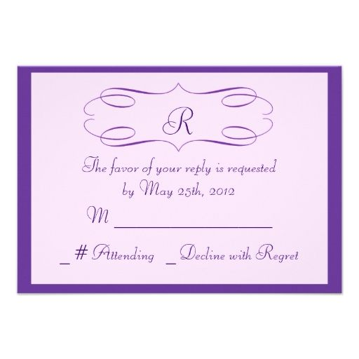 Lavender Monogram Wedding RSVP Card Custom Announcement
