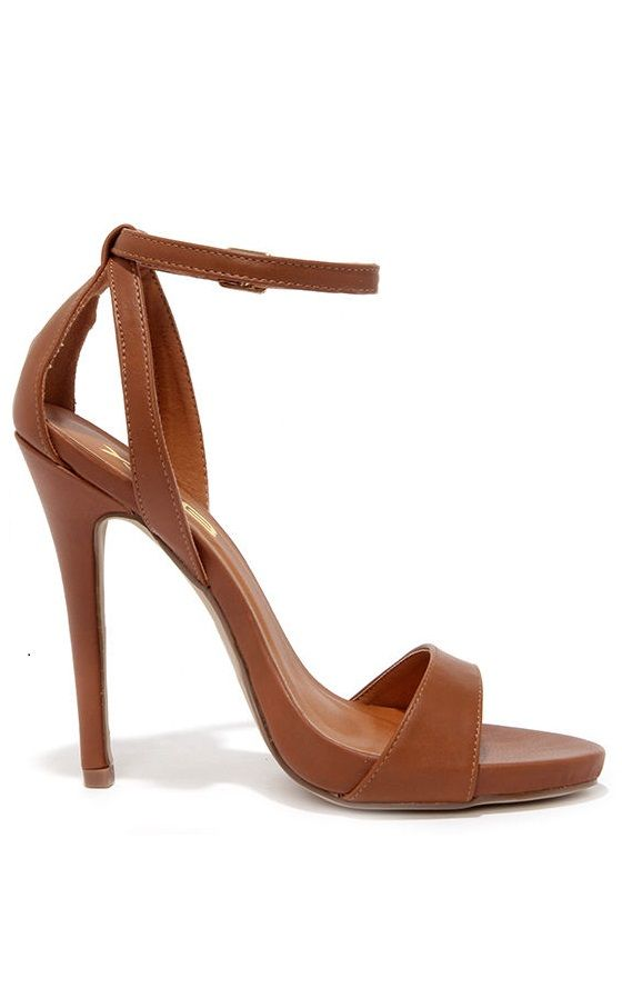 A Step Above Tan Ankle Strap Heels: