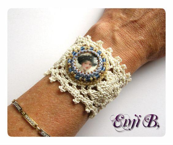 Bracelets manchette sur dentelle coton fait-main, victorien et féminin  à souhait