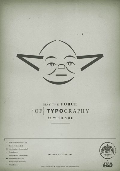 """Star Wars designs: May the Fourth be with you! """"The Force of Typography"""" series by H-57."""