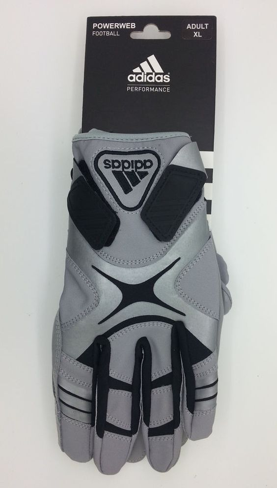ADIDAS PERFORMANCE POWERWEB GRAY/BLACK ADULT FOOTBALL GLOVES PAIR (ADULT XL)-NEW #adidas