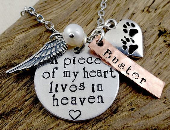 Pet Loss Remembrance - A Piece of My Heart - Hand Stamped Necklace - Dog Cat Pet   Memorial Memento  Jewelry
