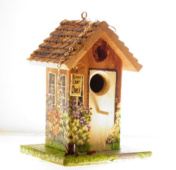 Unique Hand Painted Cedar Birdhouse  Lots of by BirdhouseBlessings