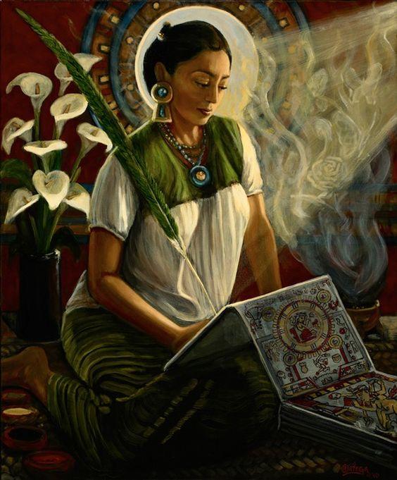 Mujer con la flor de alcatraz.