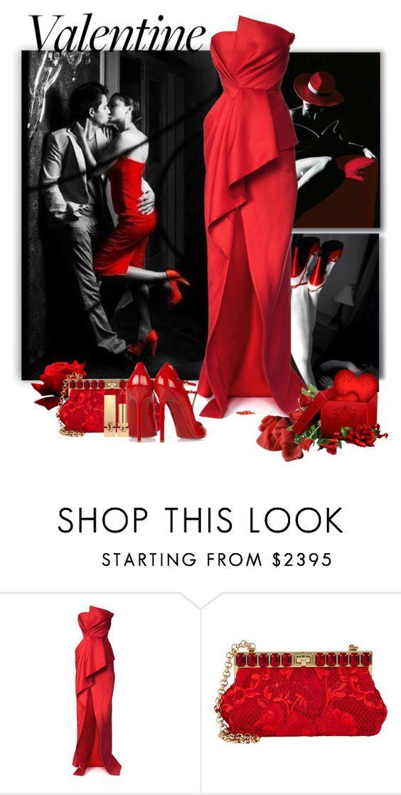 """Valentine"" by flowerchild805 on Polyvore featuring J. Mendel, Dolce&Gabbana, Yves Saint Laurent, women's clothing, women, female, woman, misses and juniors"