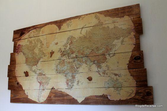 Old World Map with pallets - Mapa do Mundo para decoração feita com paletes by Gabriela Dedolph
