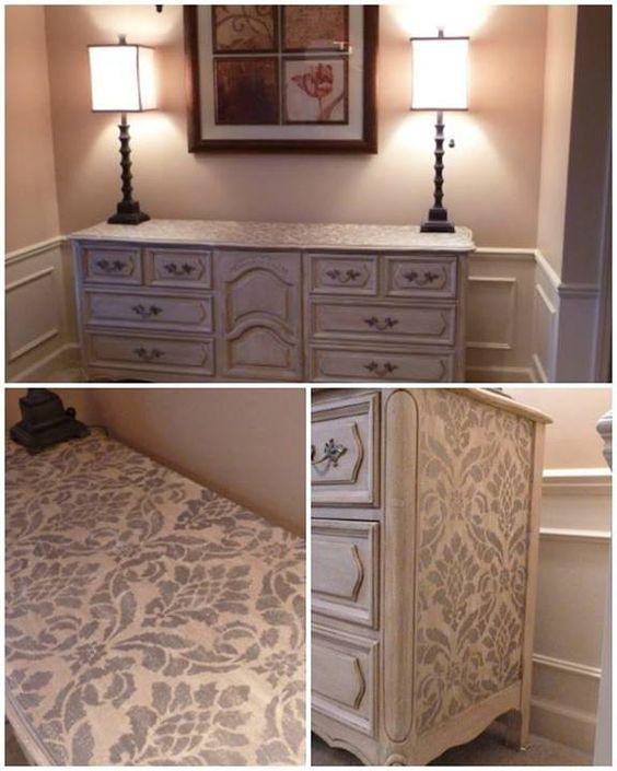 stenciled dresser via fabulous finishes | classic damask stencil ... - Mobili Recuperati Design