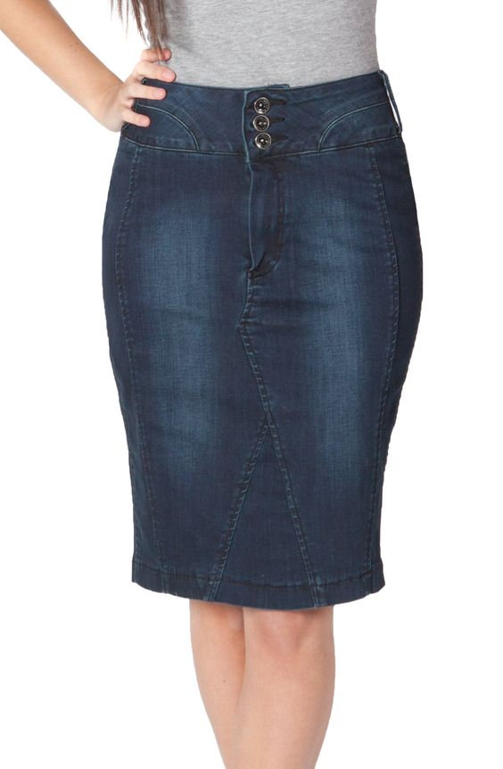 Gorgeous dark indigo knee-length denim pencil skirt. This stylish ...