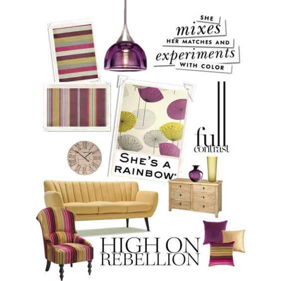 Contrast colours, yellow & purple by beckyblacey on Polyvore
