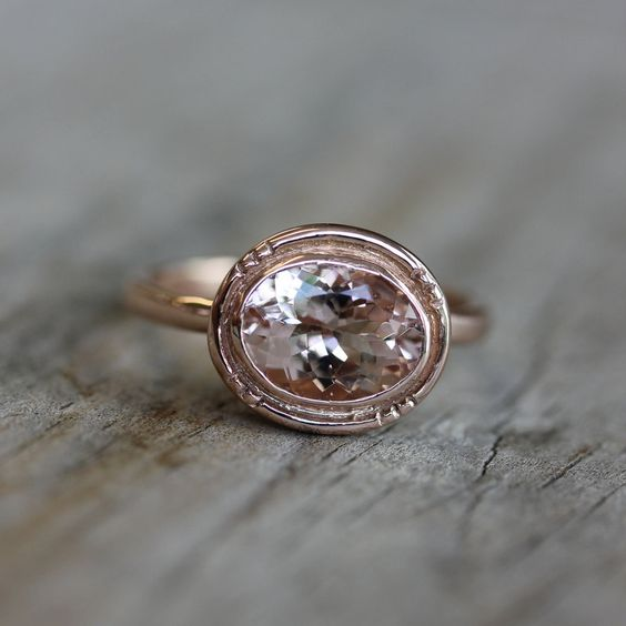 14k Rose Gold and Morganite Oval Halo Ring, Vintage Inspired Milgrain Detail, Made To Order. via Etsy.