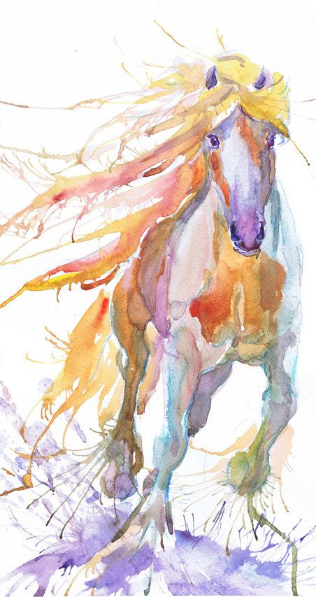 Horse art, abstract painting, equestrian decor, watercolor ...