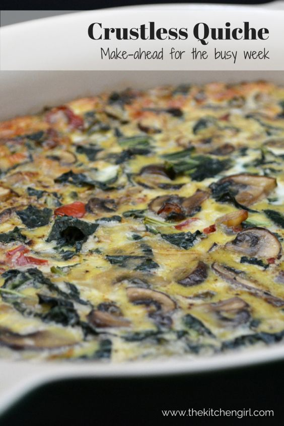 Crustless Quiche: Make-ahead for the busy week. Pack it for breakfast or lunch. Vegetarian, gluten-free, easy, healthy recipe at thekitchengirl.com
