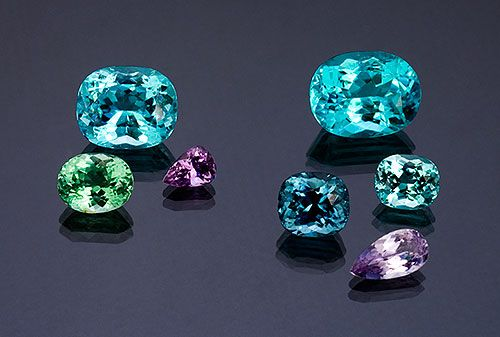 A suite of paraiba toumaline from Mozambique.  To be considered paraiba, it must contain a certain percent of copper.