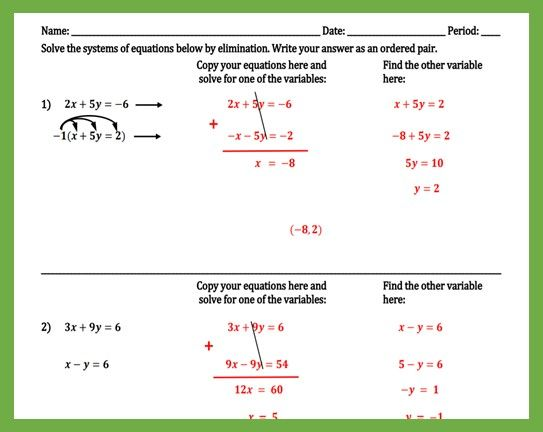 Writing Equations From Tables Partner Activity Writing Equations
