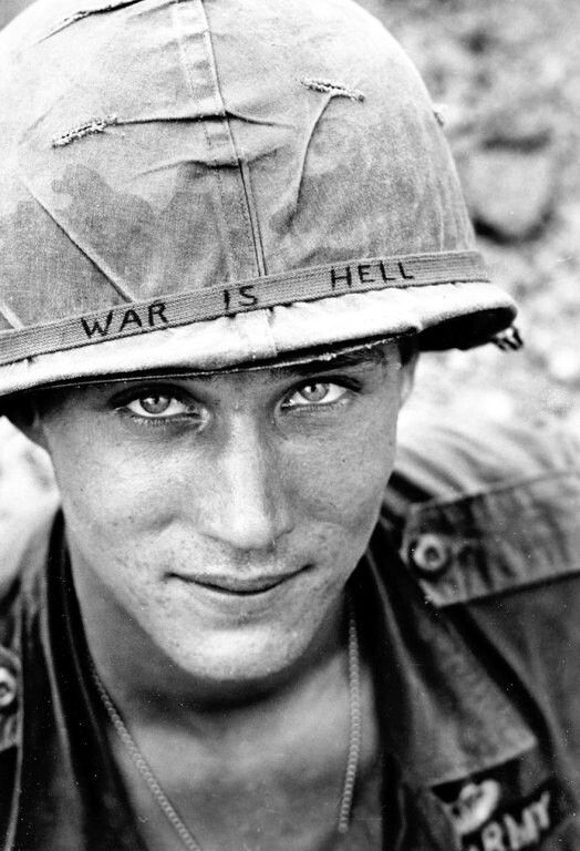 Peace: The soldier in the photo is unknown but he is with the 173rd Airborne Brigade Battalion on defense duty at Phuc Vinh airstrip in South Vietnam. June 18, 1965.