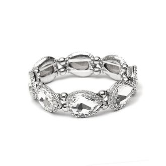 Textured Silver Frame Crystal Pears Stretch Bracelet