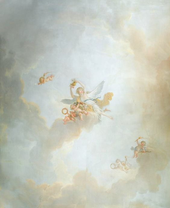 """Papier peint panoramique pour plafond créé à partir du décor du boudoir de la Reine : """"l'Aurore"""" de Jean-Simon Berthélémy (1742/1743-1811) Peinture Originale au Chateau de Fontainebleau."""