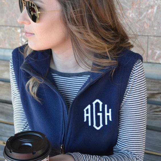 Cozy up this Fall in your monogrammed fleece vest!!