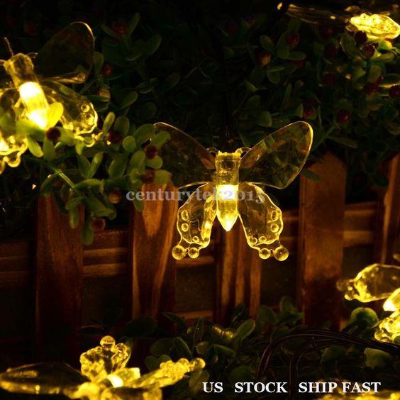 Butterfly Shape 40LED Outdoor Solar Christmas Lights Garden WARM WHITE #Ledertek