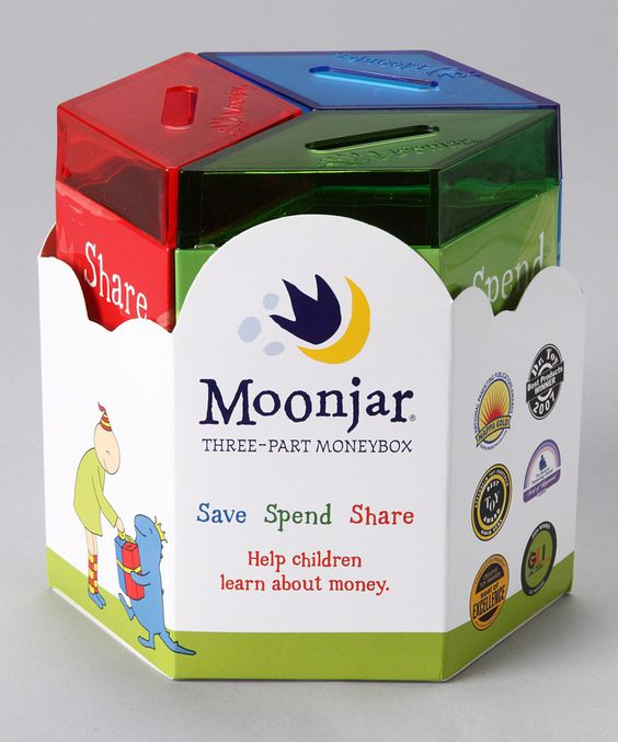 """""""Moonjar Moneybox"""" Bank with 3 sections- save, spend, and share. Love it!"""