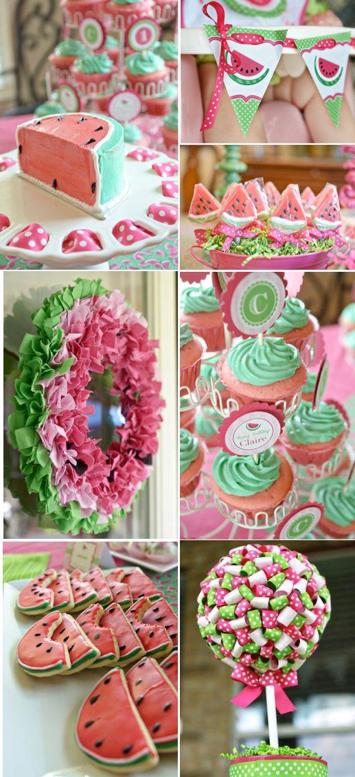 ADORABLE Watermelon themed girl birthday party via Kara's Party Ideas | karaspartyideas.com #watermelon #party #cute #girl #ideas #birthday