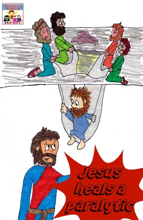 Jesus heals a paralytic bible lesson crafts bible for Jesus heals paralyzed man craft
