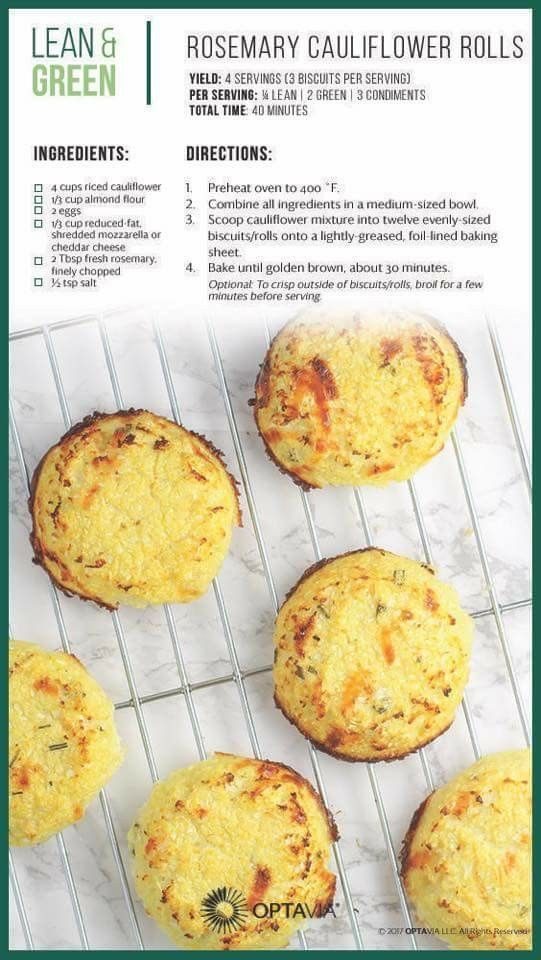 Rosemary Cauliflower Rolls Lean And Green Meals Greens Recipe