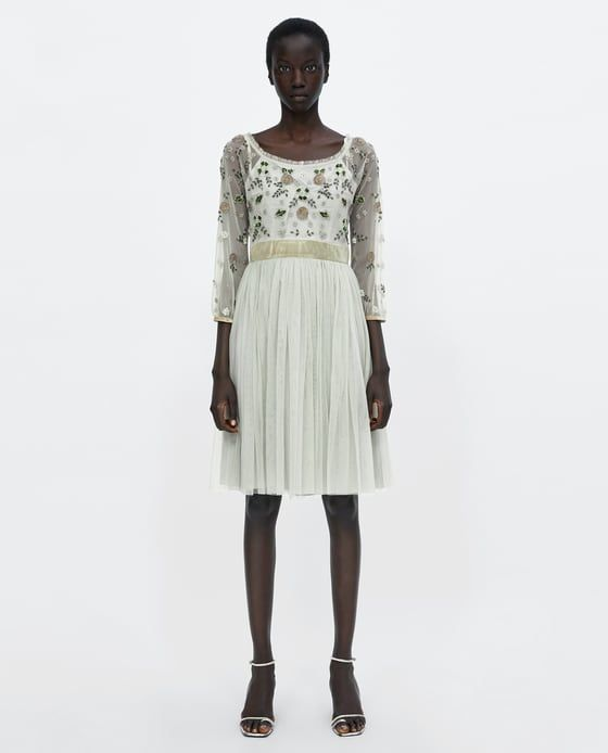 Zara Woman Embroidered Tulle Dress