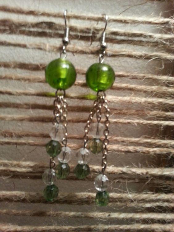 Light green n clear dangle earrings