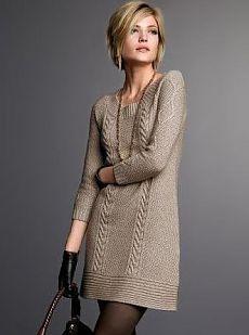 Стильное платье к осени вязать
