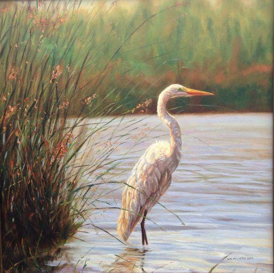 ... Egret (original oil painting) | Rivers, Oil Paintings and Originals