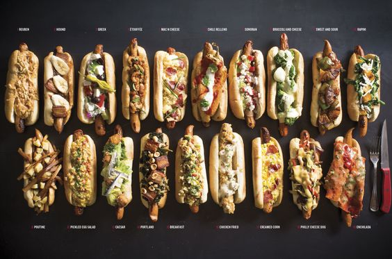 All The World's a Hot Dog Topping - Would be fun to veganize many of these toppings with Veggie Dogs too !!