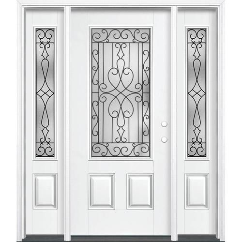 Masonite Wyngate 3 4 Lite Decorative Glass Left Hand Inswing Arctic White Painted Fiberglass Prehung Entry Door With Sidelights And Entry Door With Sidelights Entry Doors Fiberglass Entry Doors