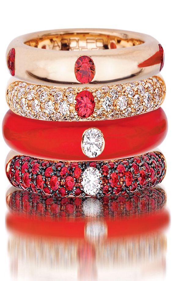 18 Karat Rose Gold, Enamel, Red Sapphire, & Diamond Stack Ring Set ~ Colette Le Mason @}-,-;---