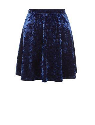 Navy Velvet Skater Skirt  | New Look
