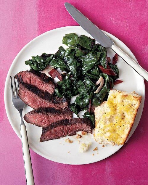 Steak with Swiss Chard and Garlic Bread