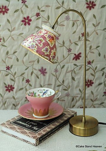 "Tea cup lamp, not a hugh ""teacup"" fan but, this is so cute. Cute for a kitchen counter/nook, reading table or night stand... Not My China But maybe some from the thrift store:"