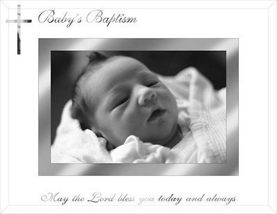 Baby's Baptism 4 x 6 inch Picture Frame Silver Memory Keepsake Photo Holder Gift - http://baby.goshoppins.com/announcements-keepsakes/babys-baptism-4-x-6-inch-picture-frame-silver-memory-keepsake-photo-holder-gift/