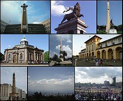 Ethiopia - capital: Addis Ababa - A montage of Addis Ababa's sights (from left to right) Top: Addis Ababa City Hall, Lion of Judah Monument, Tiglachin Monument, Middle: St. George's Cathedral, Yekatit 12 Square, Addis Abeba Railway Station  Bottom: Meyazia 27 Square, View of Addis Ababa from Entoto, Meskel Square