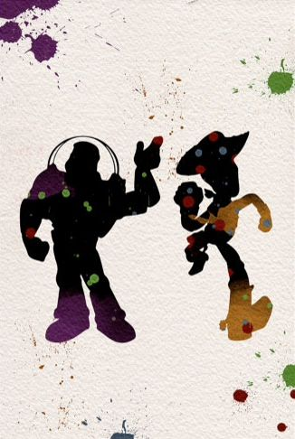 Buzz and Woody splatter art