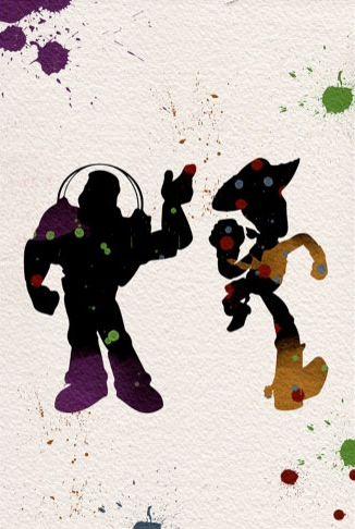 Buzz and Woody splatter art