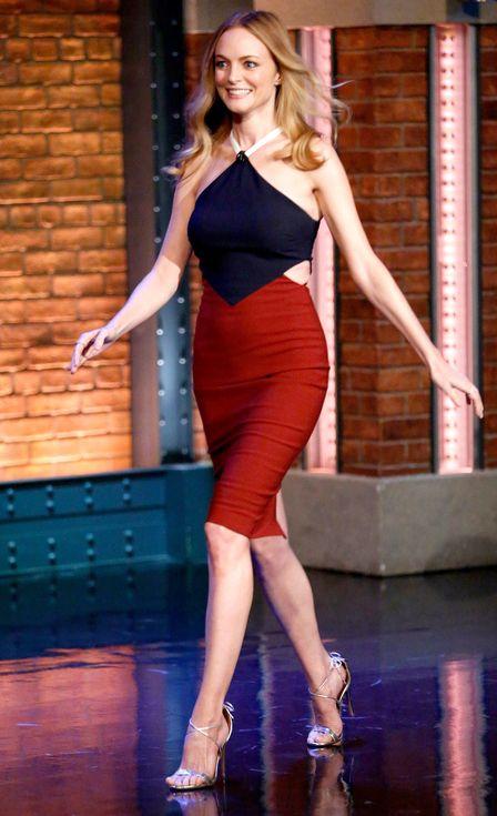 Heather Graham in a color-block halter cocktaildress