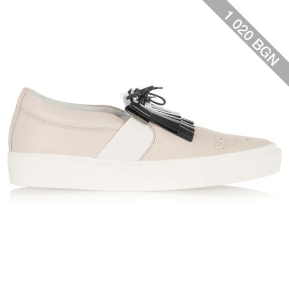Lanvin Fringed two-tone leather slip-on sneakers