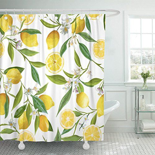 Tompop Shower Curtain Green Brazil Floral Pattern Lemon F Https
