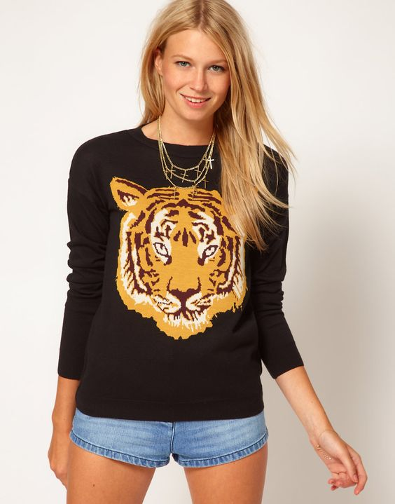 Kinda need this (never with denim shorts tho). I was born in the year of the Tiger. ASOS Tiger sweater.