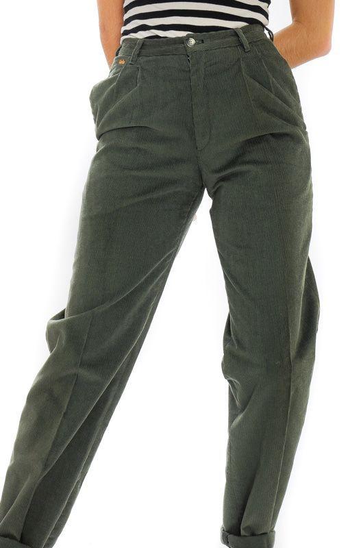 Pantalon Vintage 80s 90s Pana Lois Cintura Alta Pinzas Talla S Pantalones Vintage Ropa Ropa Vintage