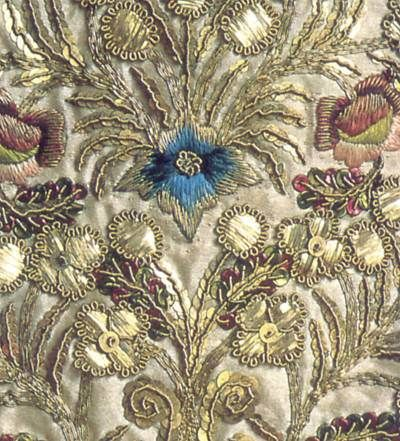 18th century goldwork embroidery from south Germany. There are a variety of forms of metal here - sequins, plate, silver gilt thread and purl.: