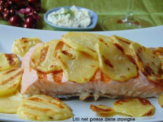 Salmone con patate e crema all'aneto